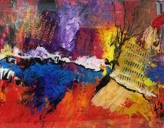"City on Fire by Sara Miller Acrylic ~ 16"" x 20"""