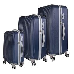 InUSA Miami Collection 3Piece 208  242  278 Lightweight Hardside Spinner Luggage Set Blue *** Click on the image for additional details.