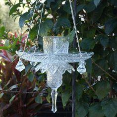 Vintage Cut Glass Elegant Hanging Repurposed Bird Feeder by ARTfulSalvage
