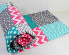Baby Girl Blanket, Minky Blanket, Nursery Decor, Baby Shower Gift, Magenta Pink, Bright Pink, Teal Blue, Turquoise, and Gray Grey Chevron