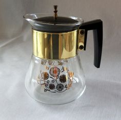 Vintage Pyrex Coffee Carafe Gold Floral Mid by BeeHavenHome