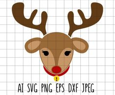 Elephant Face, Cute Elephant, Reindeer Head, Clip Art, Christmas Svg, Decoration, Embroidery, Artwork, Etsy