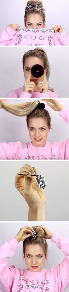 Christmas Bow Bun | 17 DIY Holiday Hairstyles for Medium Hair