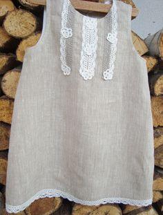 Girl  dress - Linen flower girl dress  - Weddings clothing--Birthday girls dress-Eco friendly children clothing. $49.00, via Etsy.