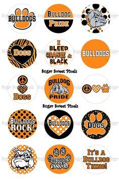 INSTANT DOWNLOAD Orange Black  Bulldogs School by sugarnspicebow