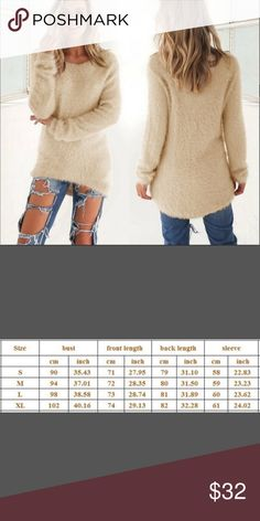 Arrived! Chunky knit cardigan Fluffy, cozy, soft Asymmetric Take a look at second pic for mesurments If you want a loose look go a size up Gorgeous light camel color ONLY ONE LEFT. Sweaters Crew & Scoop Necks