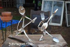 Dancing silverware sculptures:  juNxtaposition