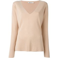 T By Alexander Wang fine knit jumper ($430) ❤ liked on Polyvore featuring tops, sweaters, beige, long sleeve sweater, long sleeve jumper, long sleeve tops, low v neck top and low v neck sweater