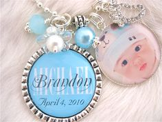Personalized Baby Photo Pendant Bottle cap Keychain, BABY name birth date keepsake, present gift, baby shower baby bag tag. $24.50, via Etsy.