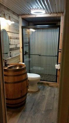 Barn tin bathroom