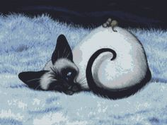 Modern cat cross stitch kit by AmyLyn Bihrle Siamese by GeckoRouge