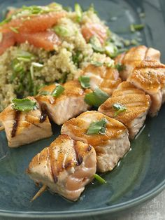 salmon kebobs with quinoa and grapefruit salad.