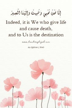 Qur'an surah Qaf 50:43: Verily, We it is Who give life and cause death; and to Us is the final return