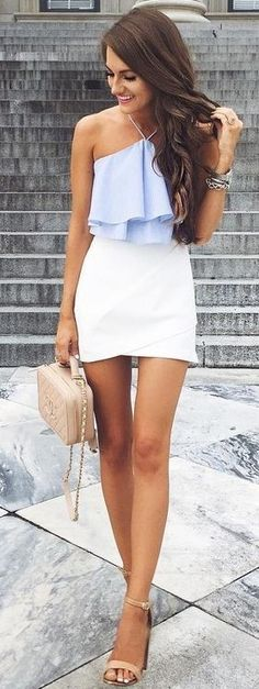 #summer #popular #outfits | Baby Blue + White