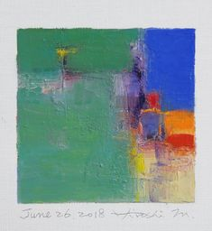 "June 26, 2018 9 cm x 9 cm (app. 4"" x 4"") oil on canvas © 2018 Hiroshi Matsumoto www.hiroshimatsumoto.com"