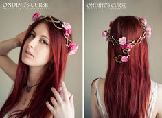 Pink naiad  Crown Tiara circlet garland wreath by OndinesCurse - for the girls - in the colors of their gowns.