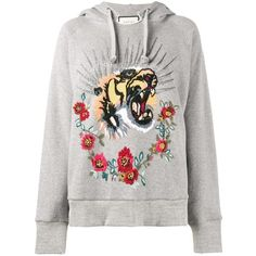 Gucci Gucci Tiger Embroidered Hooded Sweatshirt ($3,265) ❤ liked on Polyvore featuring tops, hoodies, grey, embroidered top, gray hooded sweatshirt, drawstring hoodie, cotton hooded sweatshirt and hooded sweatshirt