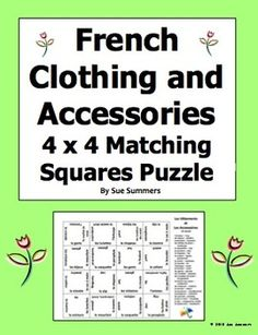 French Clothing and Accessories 4 x 4 Matching Squares Puzzle by Sue Summers