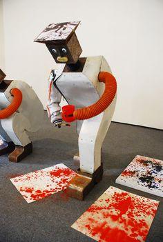 Robot mimicking the work of Jackson Pollock, 2010. Cai Guo-qiang and Wu Yulu. Metal, electronics, secondhand materials.