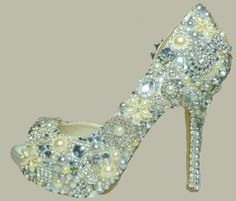Cinderella's Wish peep toes crystal glass and by tlccreationsuk,