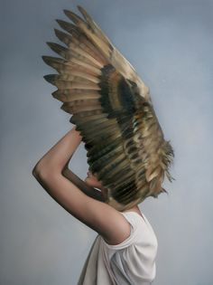 'Eagle owl shield' Oil on canvas, AMY JUDD