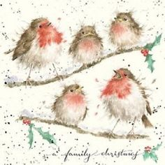 "Wrendale Christmas card ""Robins a family Christmas""                                                                                                                                                      More"