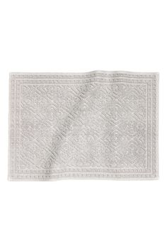 Rectangular bath mat in thick, jacquard-weave cotton terry with non-slip protection underneath. Not for use on heated surfaces. H&m Home, H&m Online, Jacquard Weave, White Decor, Grey And White, Bath Mat, Fashion Online, Kids Fashion, Beauty
