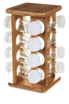 Présentoir à épices rotatif en bambou, 16 Pots verre