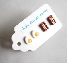 Earrings Bacon and Eggs handmade polymer clay button stud post earrings ( 4 ) by digitsdesigns on Etsy https://www.etsy.com/listing/97258586/earrings-bacon-and-eggs-handmade-polymer