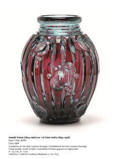 Val St Lambert - Vase ADP7 - Cristal bleu 'Pompéi' doublé rouge à l'or - 1925.