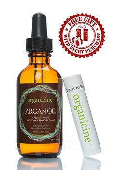 Organicine Virgin Argan Oil 100 Pure  Organic FREE Lip Balm Chapstick as a GIFT Natural Treatment for Hair Face Nails Skin Body  Premium Care Product USDA Certified Cold pressed Argon from Morocco great moisturizer  Buy Risk Free  Get FREE Ebook as a GIFT Price is for 1 bottle only *** Click image to review more details. Note:It is Affiliate Link to Amazon.