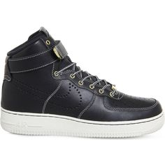 Nike Air Force 1 LV8 leather high-top trainers ($95) ❤ liked on Polyvore featuring men's fashion, men's shoes, men's sneakers, mens woven leather shoes, mens perforated shoes, mens leather shoes, mens leather high top shoes and mens leather sneakers