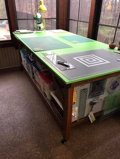 """cutting table - originally linked to facebook, """"link unavailable or expired"""" Sewing Room Storage, My Sewing Room, Sewing Room Organization, Craft Room Storage, Sewing Rooms, Organizing, Craft Room Design, Craft Room Decor, Craft Rooms"""