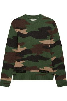 Off-White | Oversized camouflage-intarsia wool sweater | NET-A-PORTER.COM