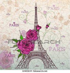 Vintage vector illustration of Eiffel tower on grunge background View Large Illustration