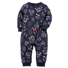 "Carter's Girls Navy Floral Print French Terry Coverall with Drawstring Waist - Carters - Babies ""R"" Us"
