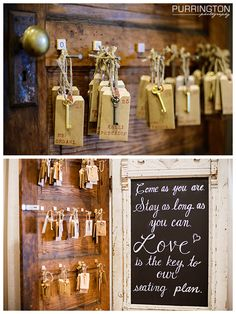 """Awesome unique fun seating plan chart cards.  Two old doors. One with chalkboard pain saying """"Come as you are stay as long as you can LOVE is the key to our seating plan.""""  The other door has nails and scrabble pieces from A-Z with the guests names on hand stamped cards in hand stamped envelopes tied to twine.  © Purrington Photography Bemidji Wedding Photographer"""