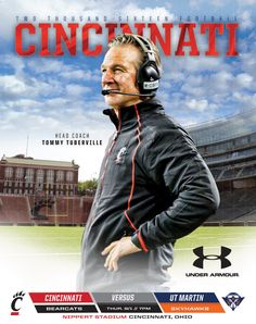 2016 Cincinnati Football Gameday Program vs. UT Martin on 9/1/16 features head coach Tommy Tuberville on the cover. #Bearcats
