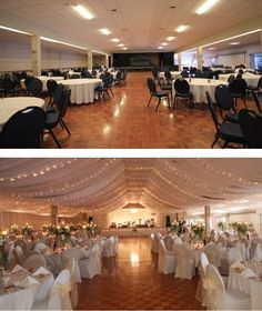 Before and After Wedding Styling Photo by Event Avenue. Ceiling draping with fairy lights Before and After Wedding Styling Photo by Event Avenue. Ceiling draping with fairy lights Ballroom Wedding Reception, Wedding Draping, Indoor Wedding Receptions, Diy Wedding Drapery, Wedding Lighting Indoor, Outdoor Ceremony, Wedding Ceiling Decorations, Wedding Reception Decorations On A Budget, Reception Halls