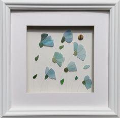 Sea Glass Art, Cornflowers
