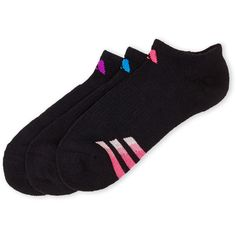 Adidas 3-Pack No Show Cushioned Socks ($5.99) ❤ liked on Polyvore featuring intimates, hosiery, socks, black, adidas socks, adidas, compression hosiery and compression socks