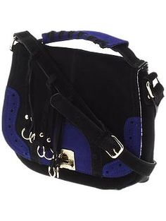 Beautiful suede black & cobalt blue crossbody bag by Danielle Nicole...only $57.99 on Piperlime.com