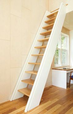 Stairs/Ladder design to get to attic loft space. Staircase Photos Design For Small Space Design Ideas, Pi Stairs/Ladder design to get to attic loft space. Staircase Photos Design For Small Space Design Ideas, Pictures, Remodel, and Decor Space Saving Staircase, Attic Staircase, Loft Stairs, Modern Staircase, House Stairs, Staircase Design, Staircase Ideas, Small Staircase, Basement Stairs