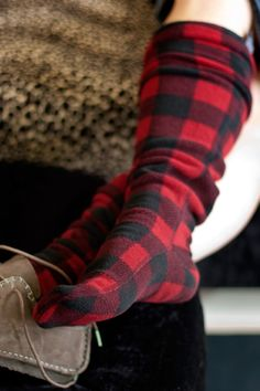 Lumberjack Fleece Knee Highs - Wider Calf - Crazy cozy fleece in lumberjack plaid keeps you snug as a bug from your toes to your knees! Rough it while keeping things as soft and snuggly as possible.