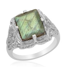 Liquidation Channel: Labradorite Ring in Platinum Bond Brass