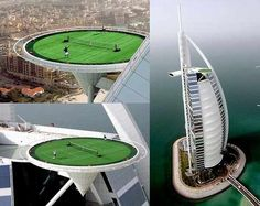 Dubai, Burj Al Arab It is not really a tennis court, it is the hotel's helipad. They built a temporary tennis court on it in 2005 for one demo game (Agassi VS. Tiger Woods has also played golf here. Dubai Golf, Burj Al Arab, Dubai Hotel, Dubai Uae, Rooftop Bar, Rooftop Design, Places To Travel, Vacation Places, Arquitetura