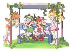 Super Mario Smash, Super Mario And Luigi, Super Mario Games, Super Mario Art, Mario Bros., Mario Kart, Super Smash Bros, Princesa Daisy, Luigi And Daisy