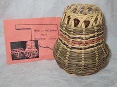 "Native American Hand Made Basket by Shirley Gewin Cherokee Oklahoma 4.5"" Signed"