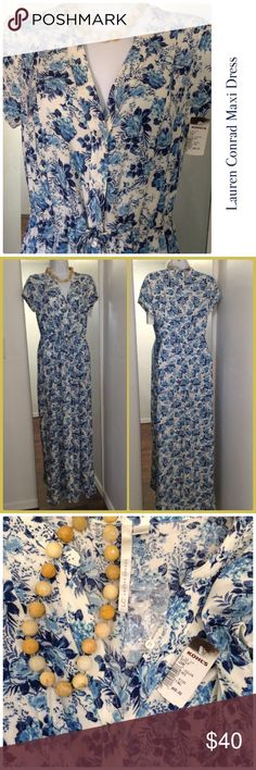 """Lauren Conrad Maxi Dress Blues and off white in color this dress is what you need this summer ☀️ The dress buttons down and ties at the waist. Has tags and an extra button. Measurements: L=56"""". Underarm to underarm=17"""". Waist=14"""" (untied) 16"""" (stretched). Lauren Conrad Dresses Maxi"""