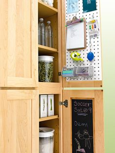 Best Ways to Store More in Your Kitchen Create a Message Center Set up a streamlined household communications center. Conceal a message board or calendar on the back of a closet or cabinet door. Use baskets or cubbyholes, one for each family member, in a closet or cabinet to sort mail, and stash pens and notepaper nearby.